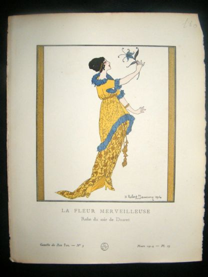 Gazette du Bon Ton by Dammy 1914 Art Deco Pochoir. La Fleur Merveilleuse | Albion Prints